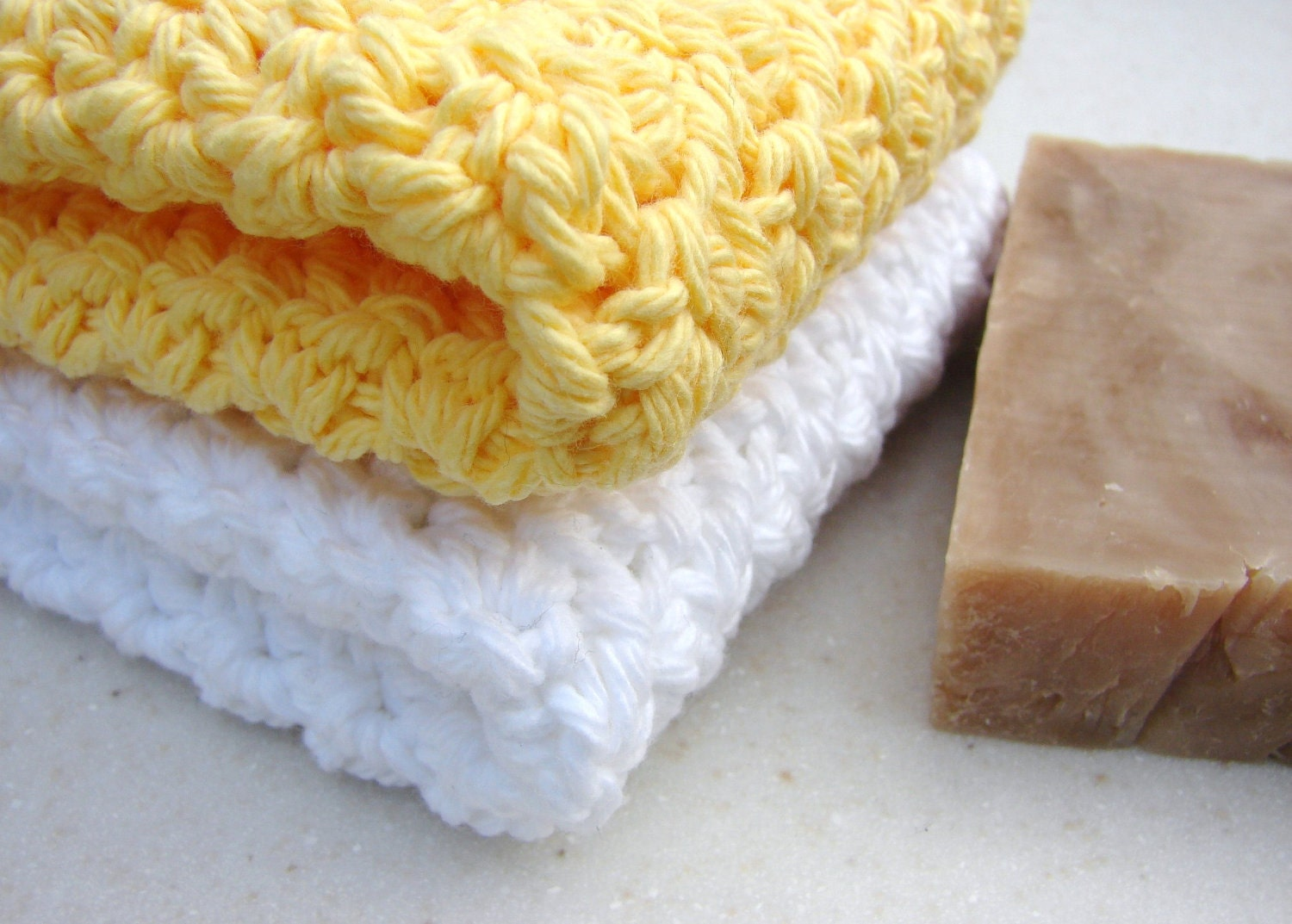 Cleansing Facial Washcloths Yellow White Soft Cotton Scrubbies Set of 2, Choose Your Colors, Made to Order, Wedding Gift