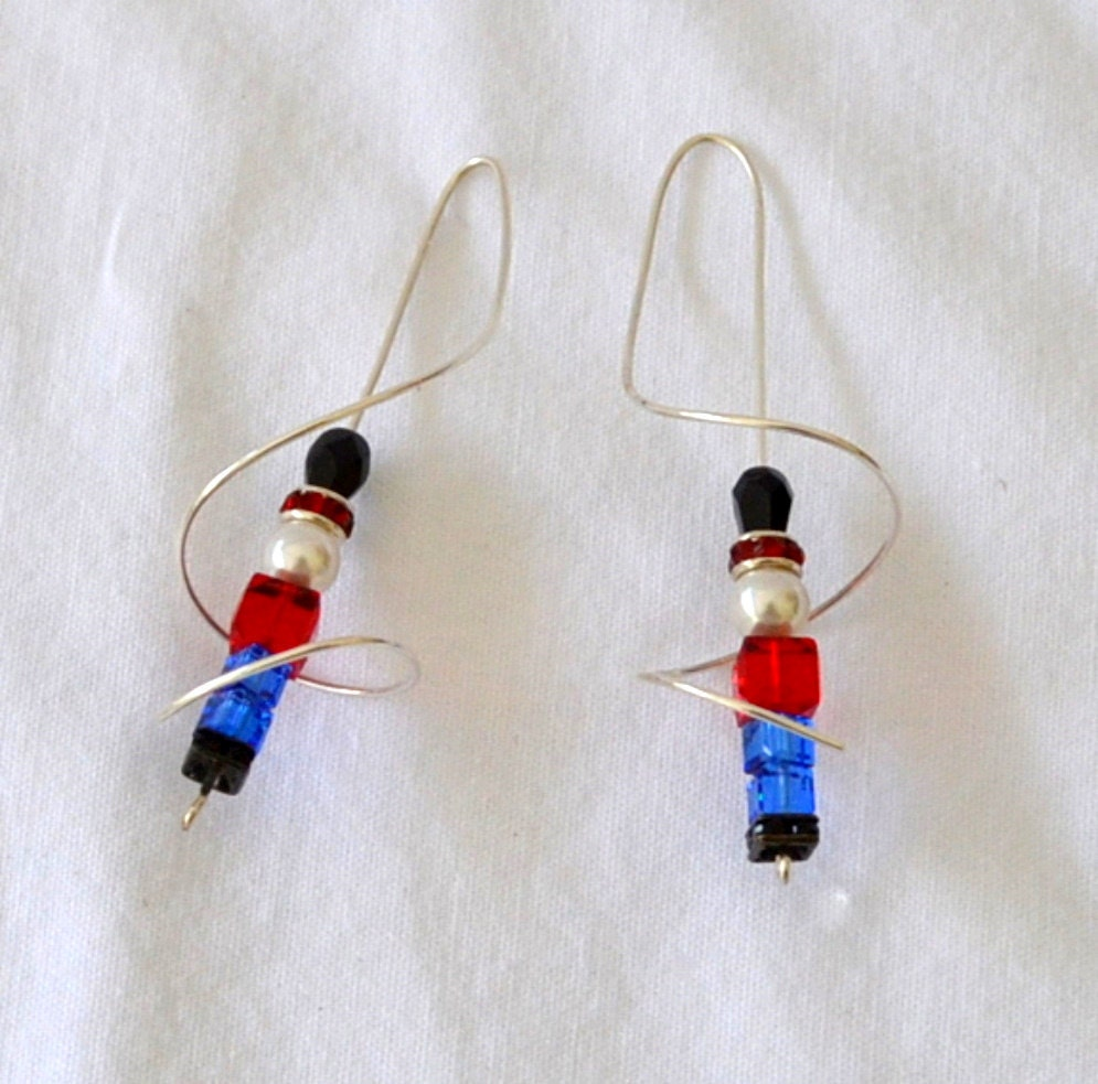 Toy Soldier Christmas earrings.  Sterling silver wire  threaders.  Swarovski components