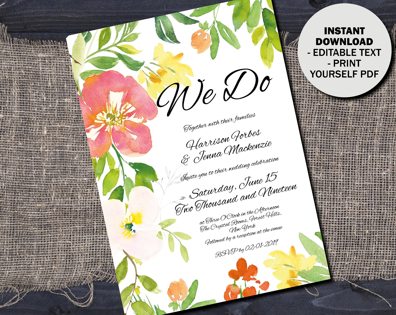 Printable Wedding Invitation Template DIY Editable Wedding PDF Invitation Template Rustic Watercolor Flowers Invitation Border 8 INV8