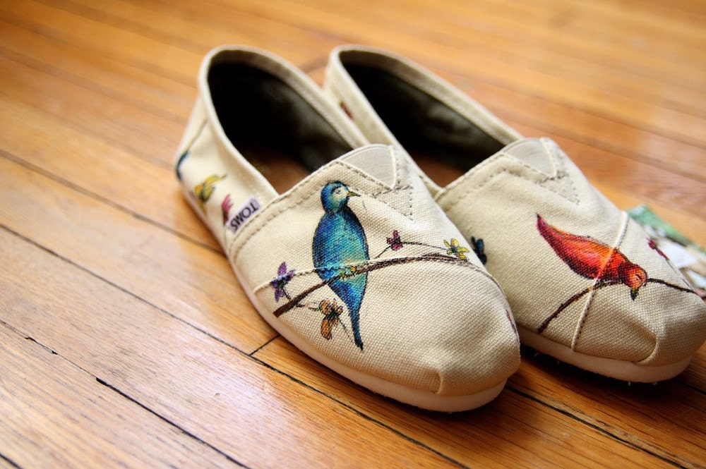 Custom TOMS Shoes - Birds and Wildflowers All Over - shandke