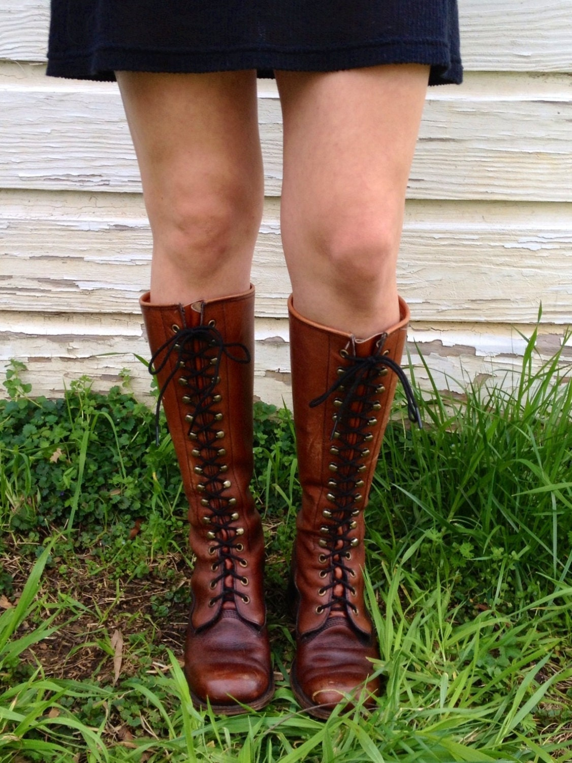 Vintage Frye Riding Boots Tall Leather Lace By