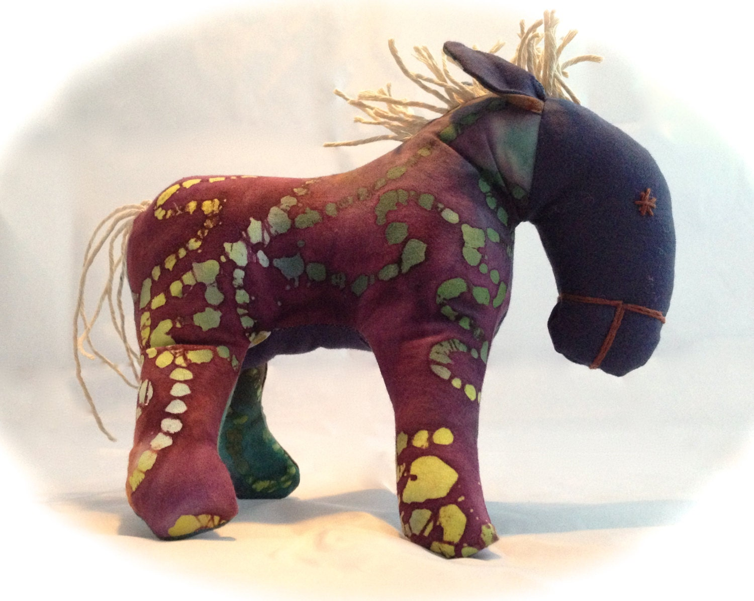 Free shipping handmade soft horse toy for boys and girls tiedye horse plush
