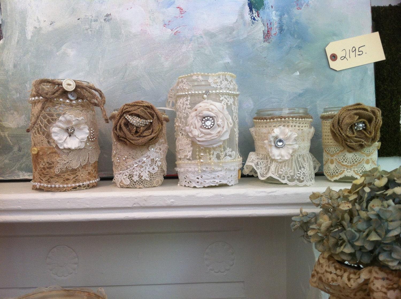 Smaller Decadent burlap mason jars