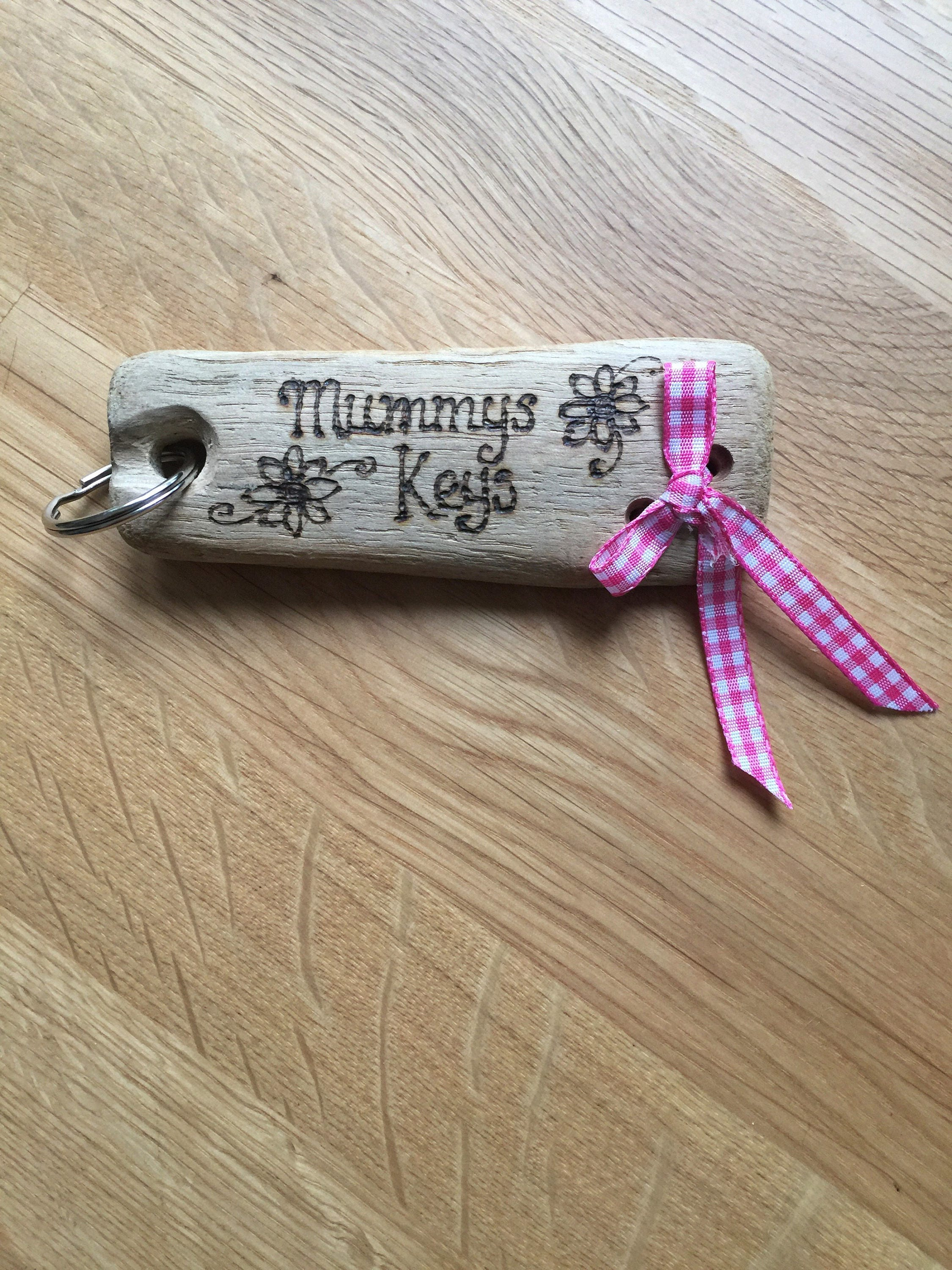 Personalised keyring driftwood keyring keychain personalised key fob driftwood key keeper wooden key fob wooden key ring custom fob