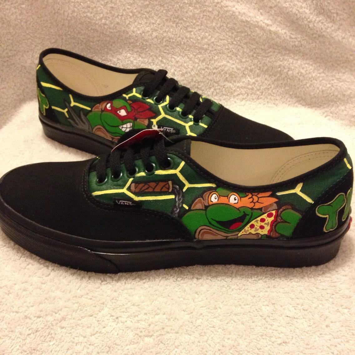 mutant turtles custom vans black by