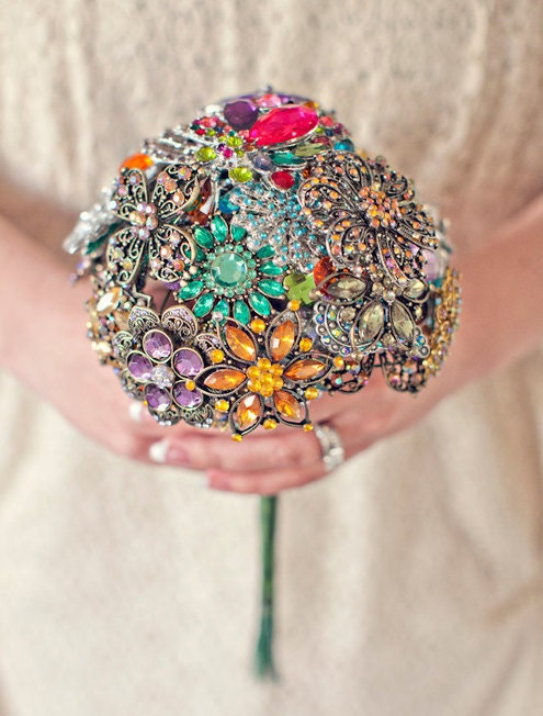 Colorful Brooch Wedding Bouquet Blue Pink Green Purple Orange Yellow