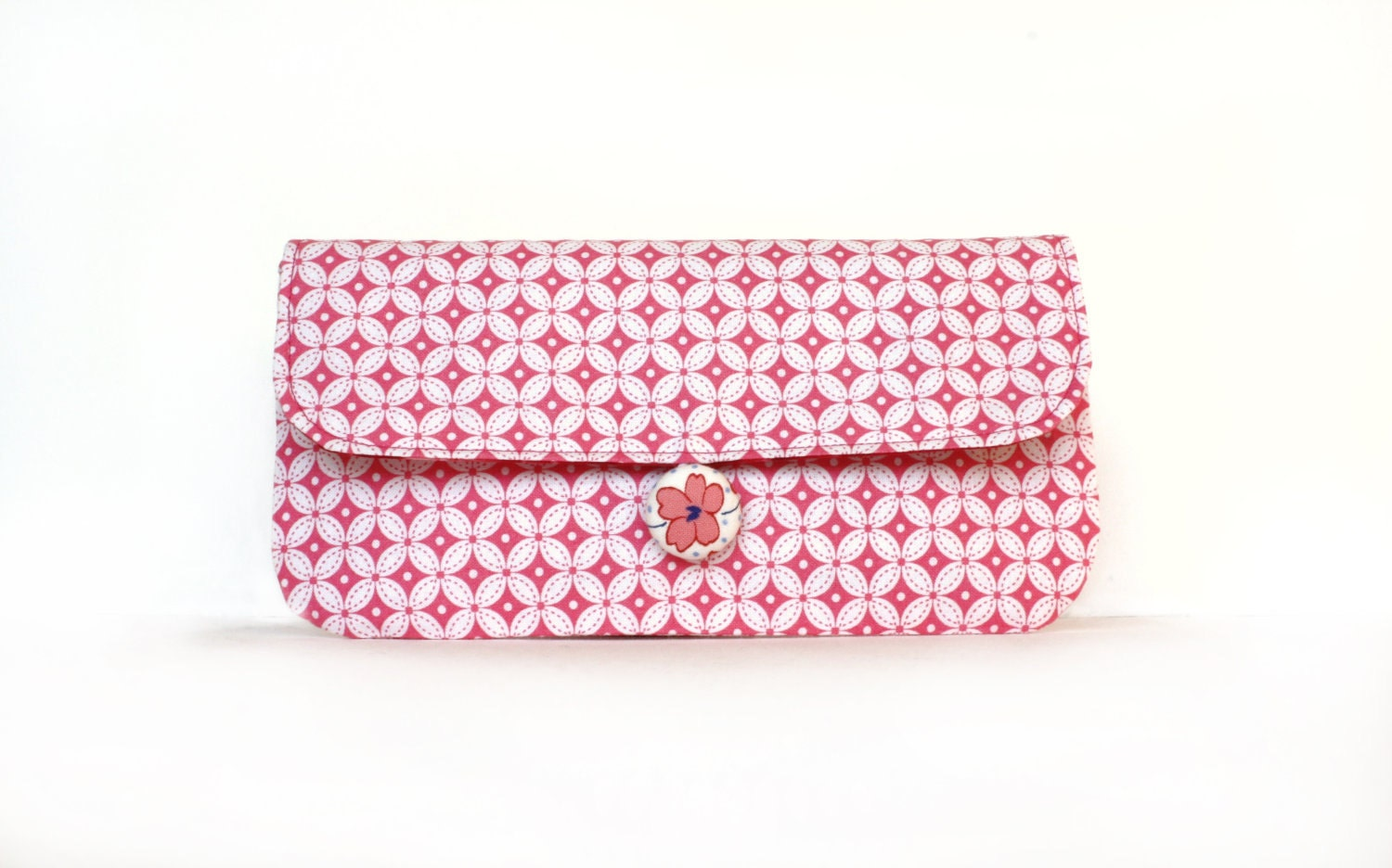 Wristlet Clutch, Coral Pink and White Cotton Print with  Removable Strap