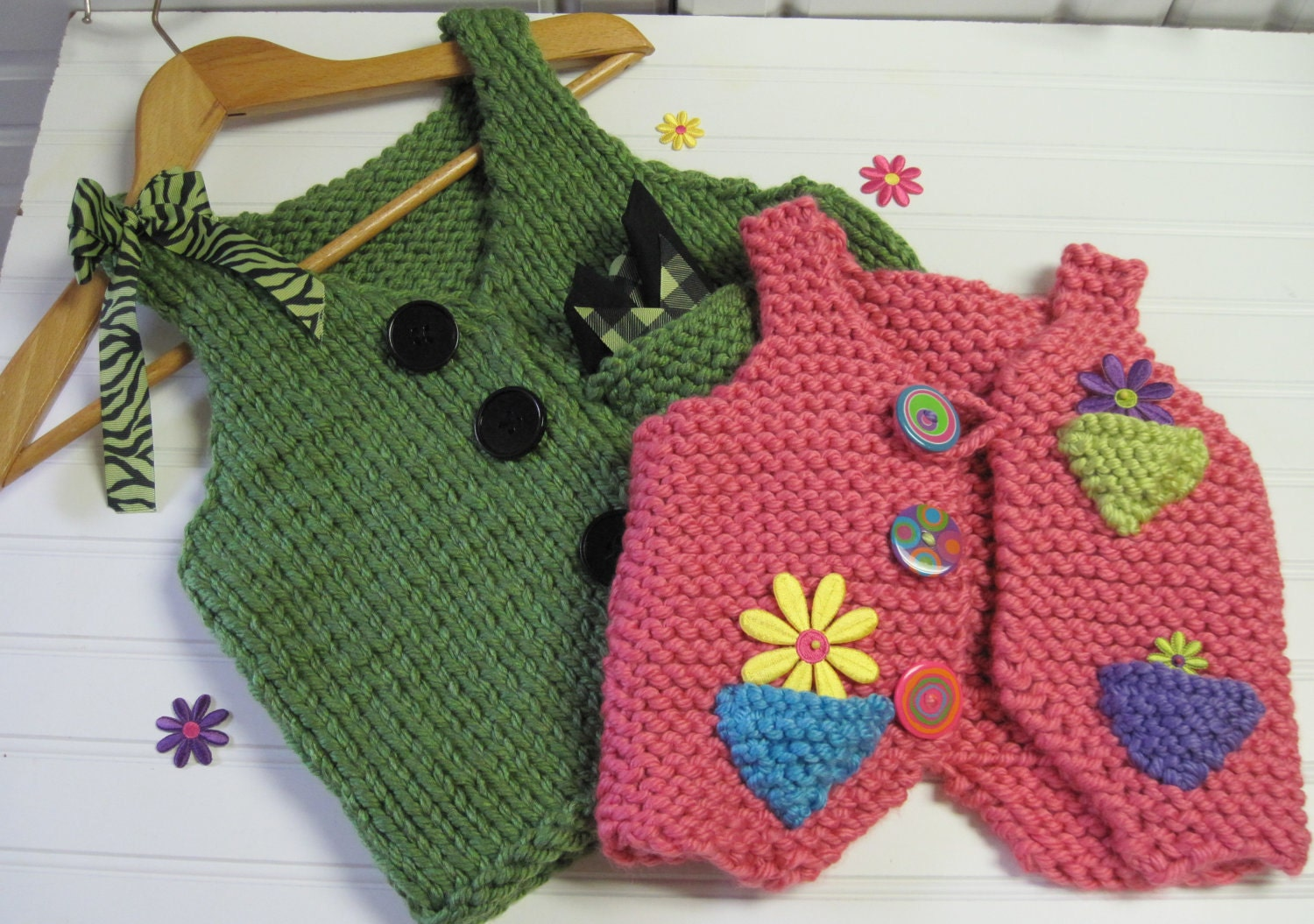 Knitting Pattern Vest Bulky Yarn : Pocket Points Childs Vest Bulky Yarn Knitting by LaurelArts