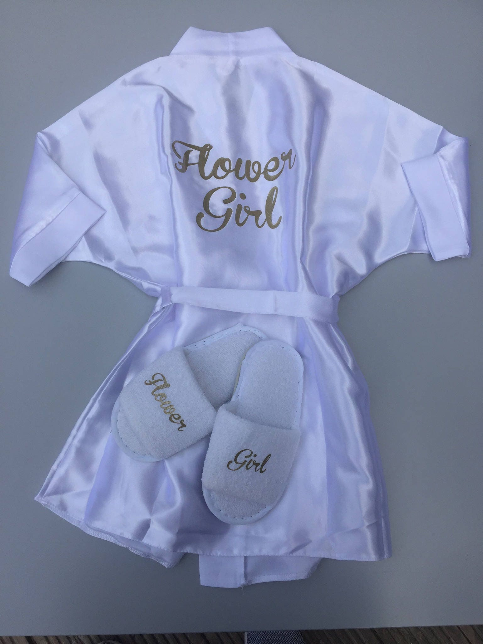 Flower girl robe  flower girl slippers  will you be my flower girl  bridesmaid robe bridesmaid slippers will you be my bridesmaid
