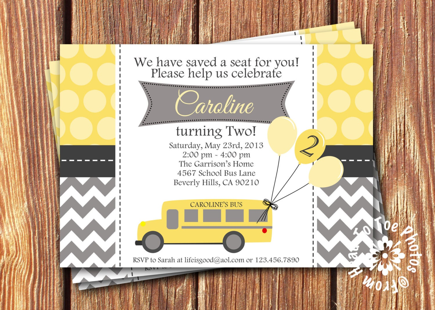 school bus birthday invitations by fromheadtotoedesigns on