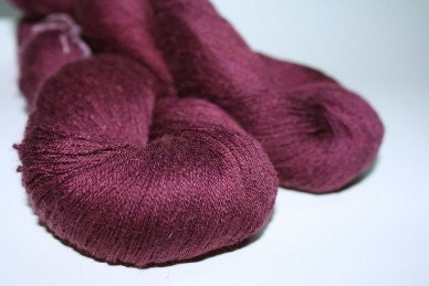 Baby Camel Silk Cobweb Lace Yarn Hand dyed Soie et Bebe Chameau Merlot - 1azclace