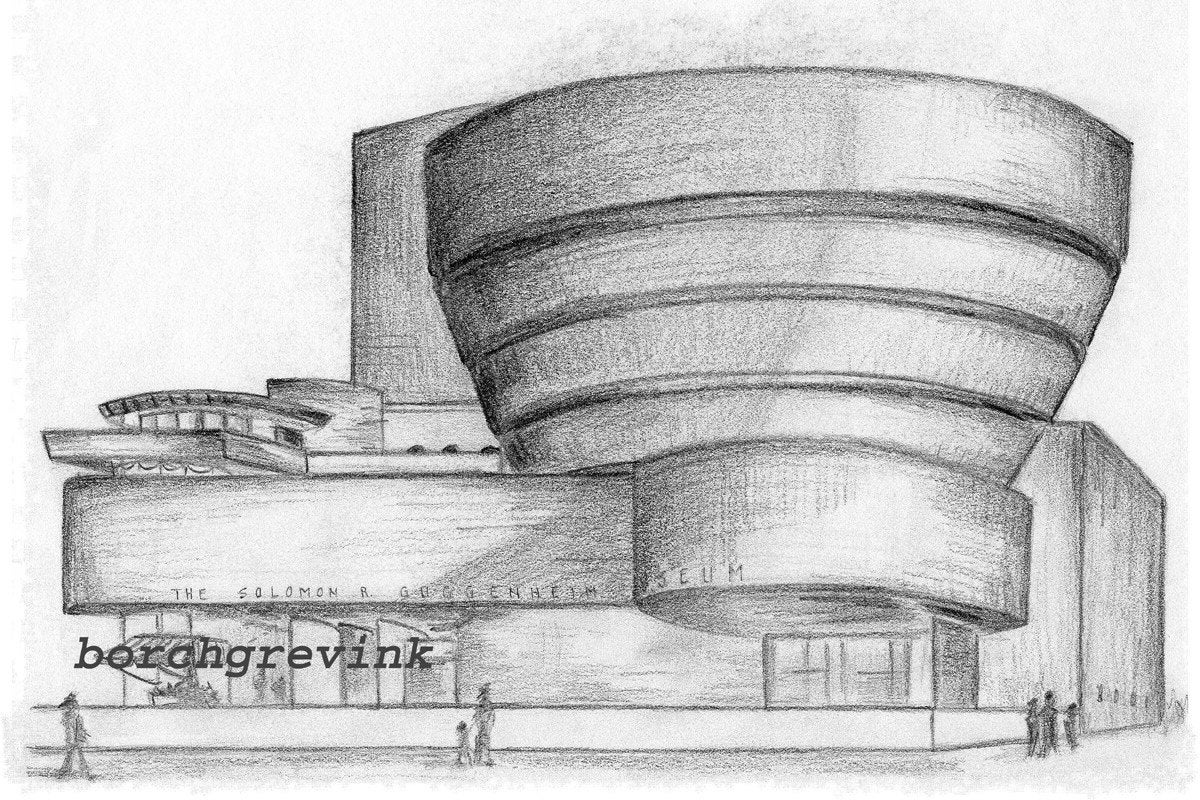 The Guggenheim Museum NYC FLW Original Pencil Sketch 1959
