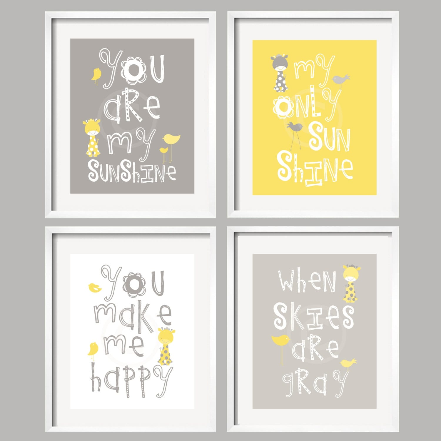 You Are My Sunshine Giraffe Art Prints Yellow and Gray Giraffes and birds- 8x10 wall art, baby shower gift, boy and girl colors - YassisPlace