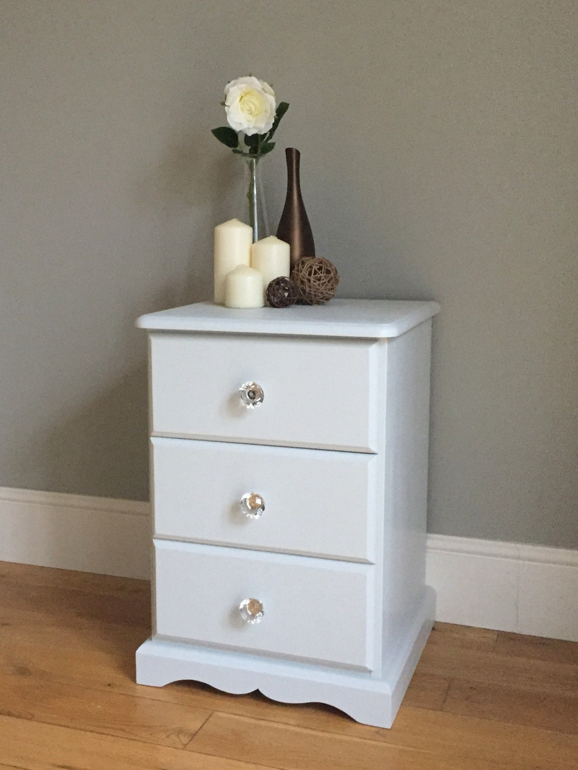 Pine Painted Bedside Table  Light Grey  Off White (delivery quote available on request)