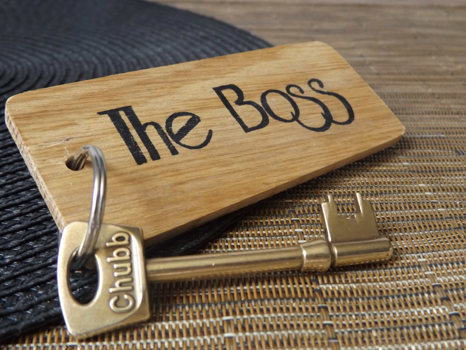 Boss Keyring  Oak wood Keyring  Business Keyring  Manager Keyring  Work  Office  Coworker  Colleague  Gifts for him  Gifts for her