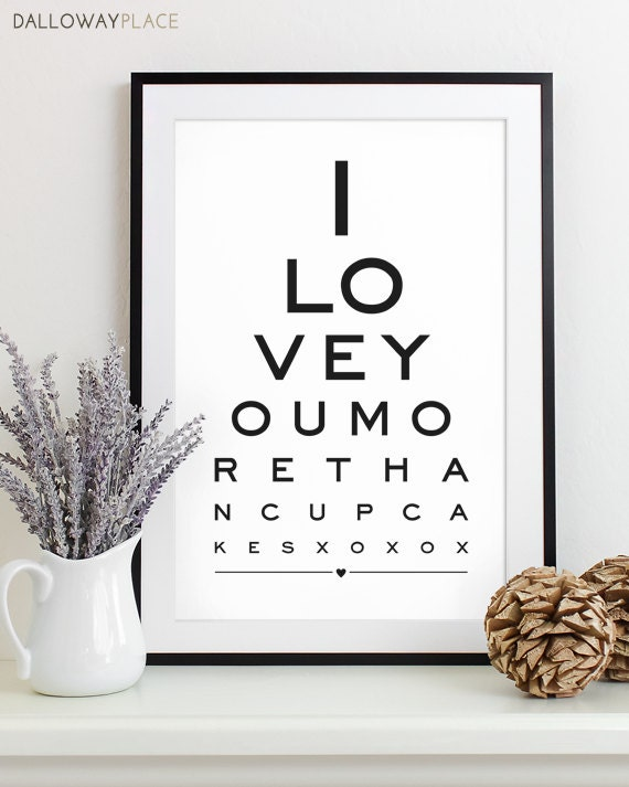 Wall Decoration For Wedding Anniversary : Wall art print eye chart anniversary gift by dallowayplace