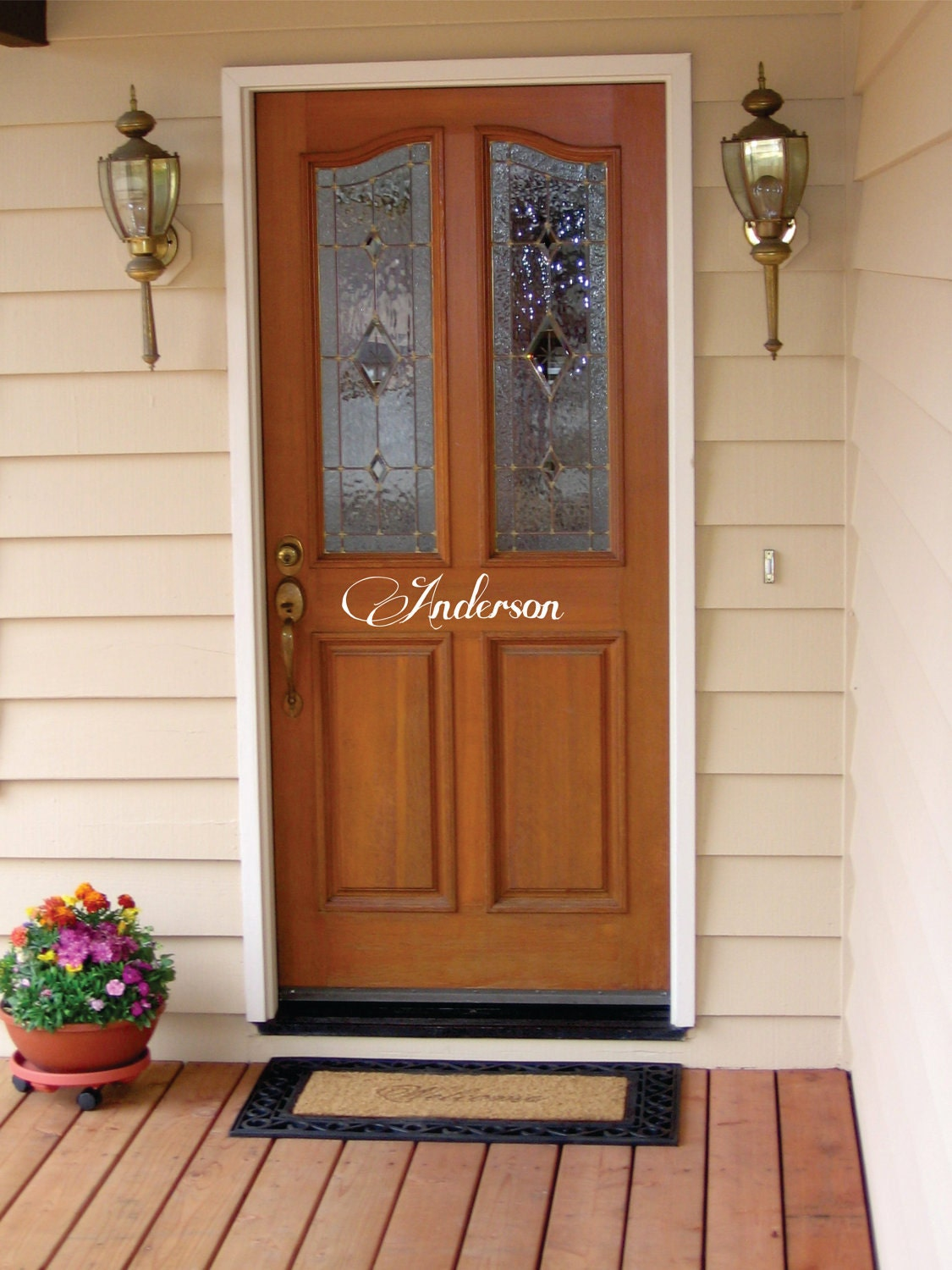 front door family name decal free shipping by nothinbutvinyl