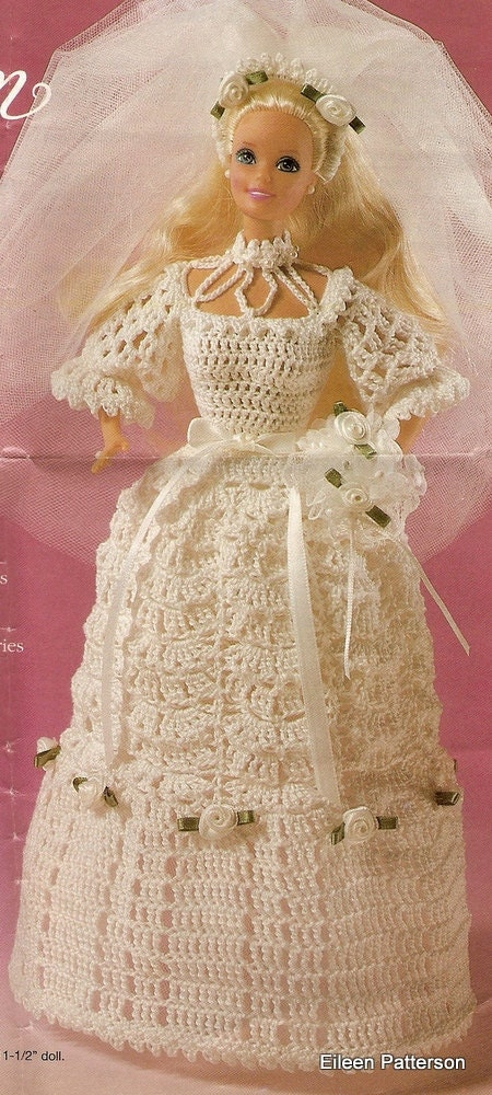Free Knitting Pattern For Barbie Wedding Dress : Crochet PDF Pattern Barbie Doll Wedding Gown by GoofingOffSewing