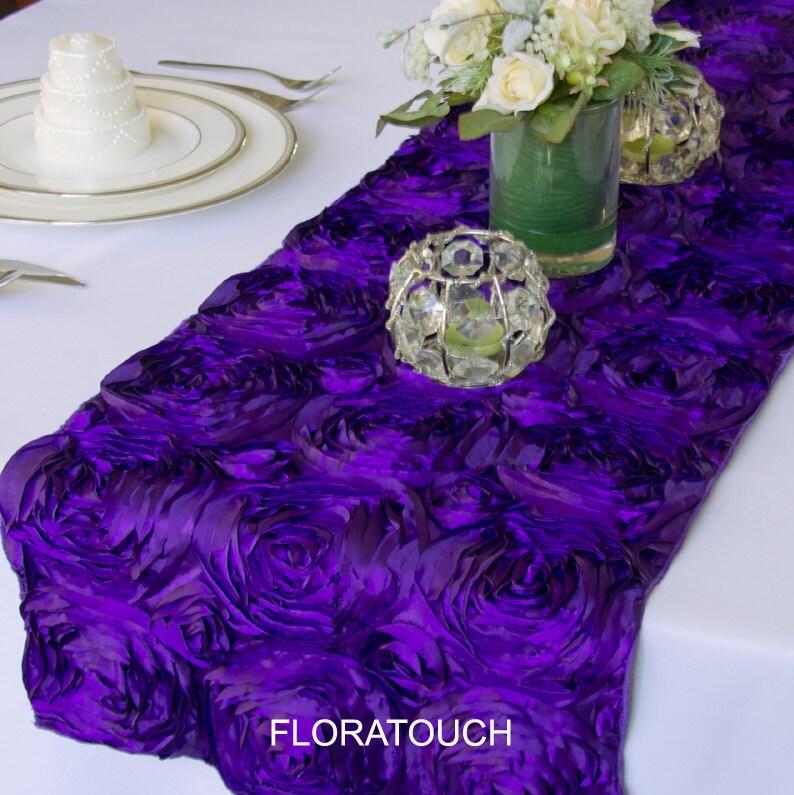 Satin Ribbon Rosette Wedding Table Runner Purple