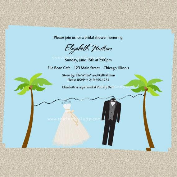 Beach Wedding Shower Invitations, Tropical Bride & Groom Bridal Shower ...