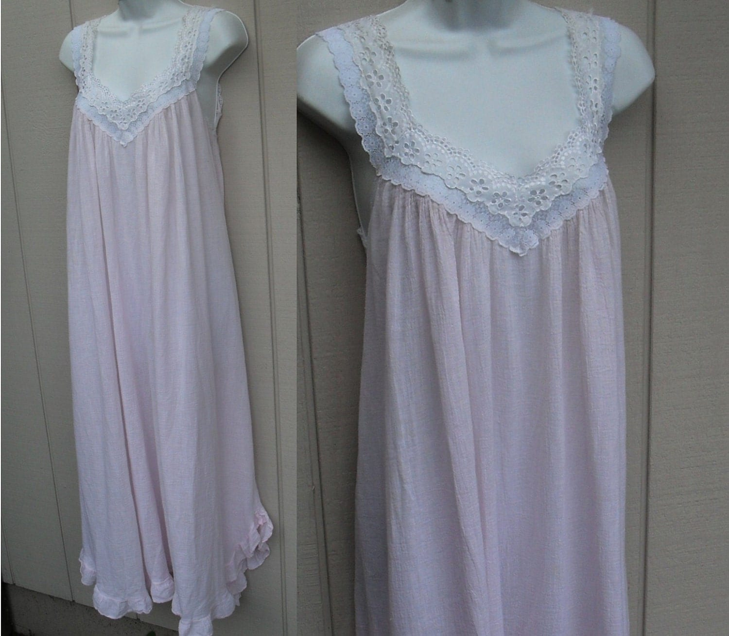 Pink Cotton Gauze Nightgown Vintage 80s Victoria By Betseydo