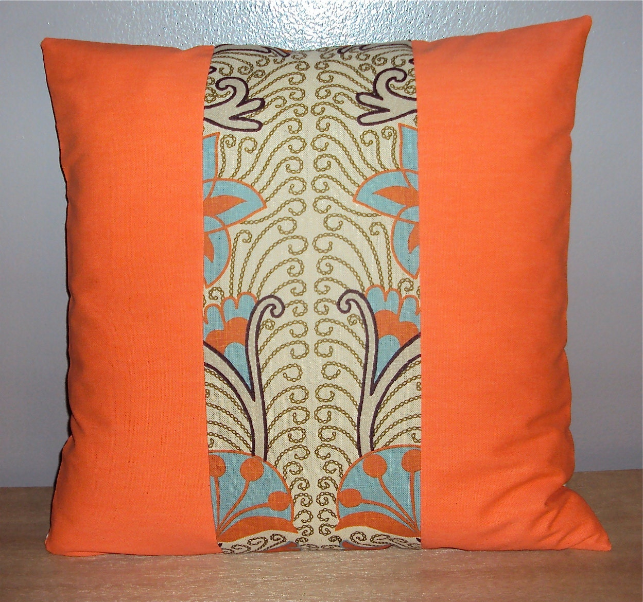 Teal And Orange Decorative Pillows : 16x16 Orange Teal Decorative Pillow Cover by idari on Etsy