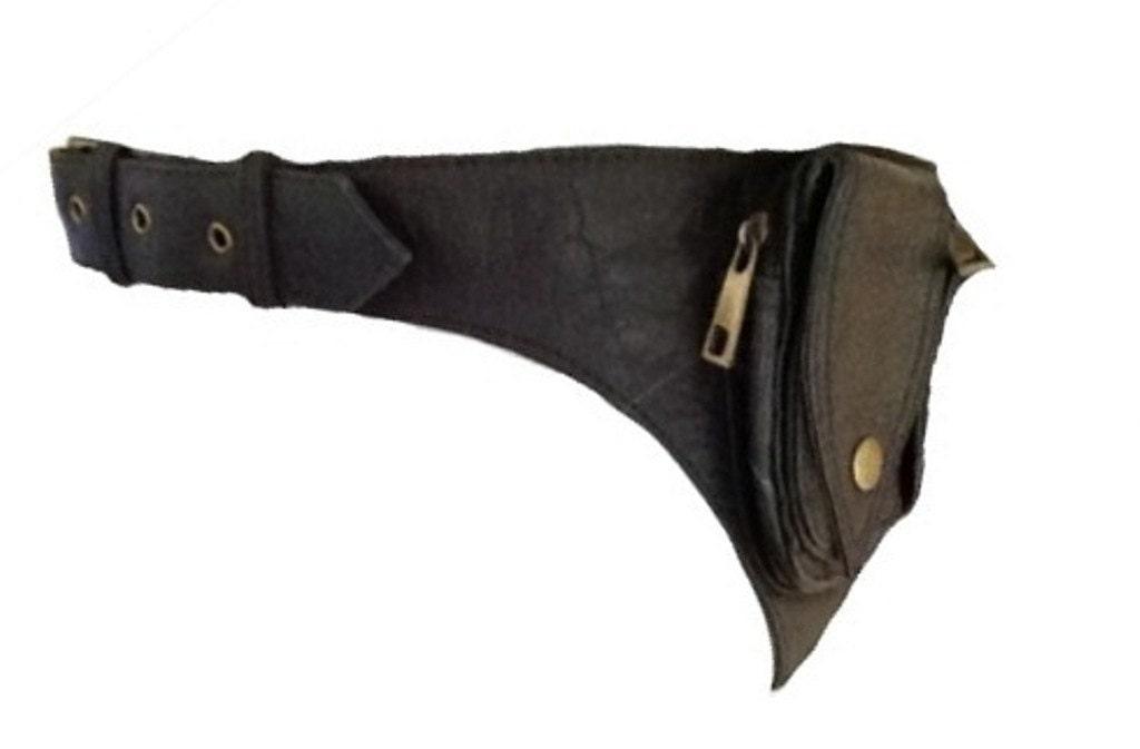 black leather utility pocket belt hip waist by gekkobohotique