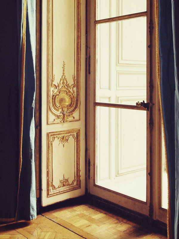 Paris Photo. Fine Art Photography. French Doors. Versailles. Marie Antoinette. Rococo. Gold Cornice. Navy Blue. Home Decor. Size A4 - happeemonkee