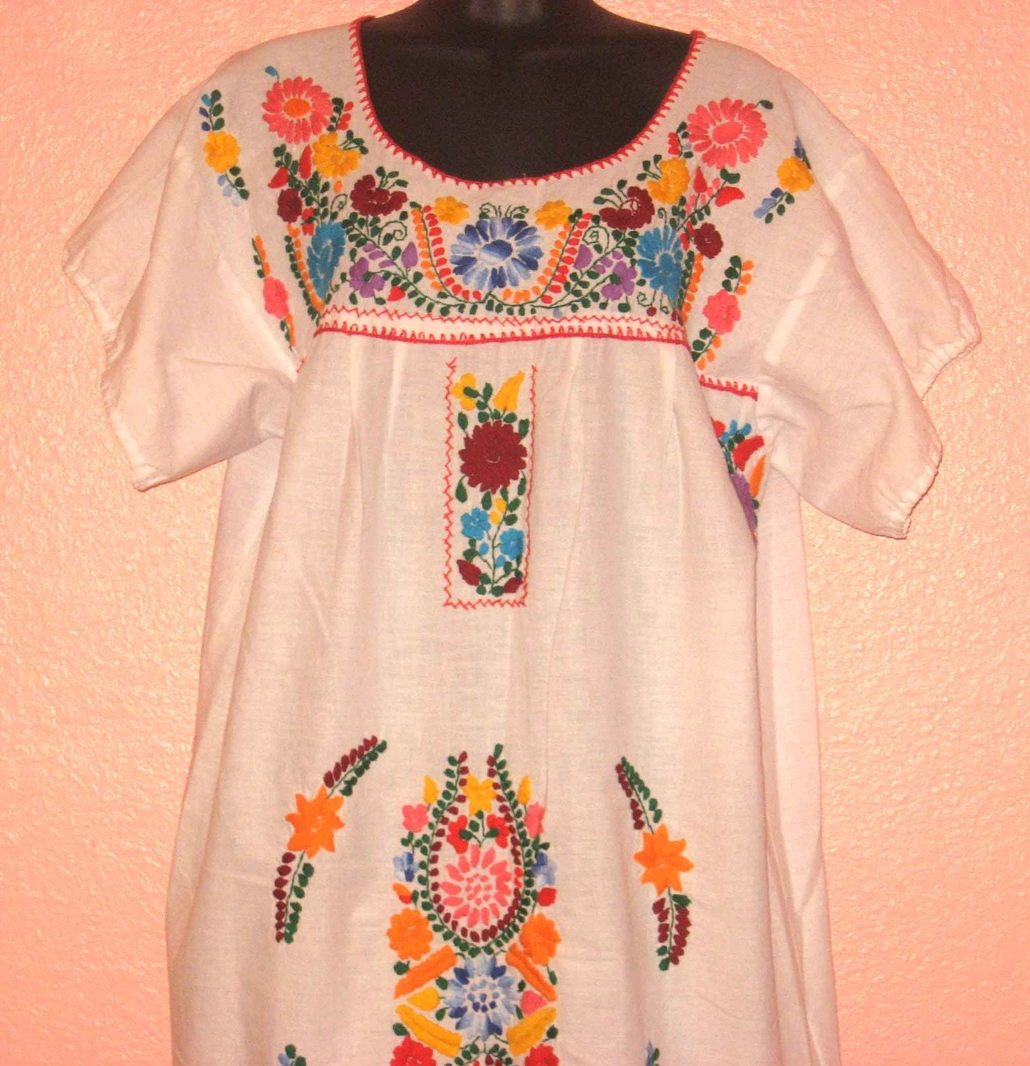 Items similar to vintage mexican ethnic embroidered dress