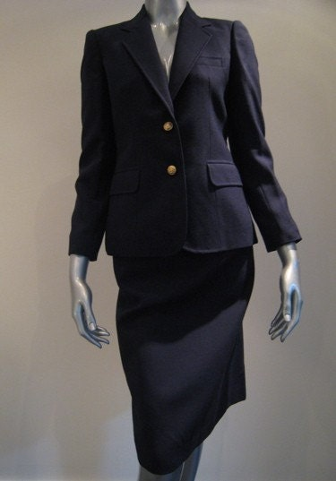 vintage navy blue skirt suit by evan picone size 0 2 by