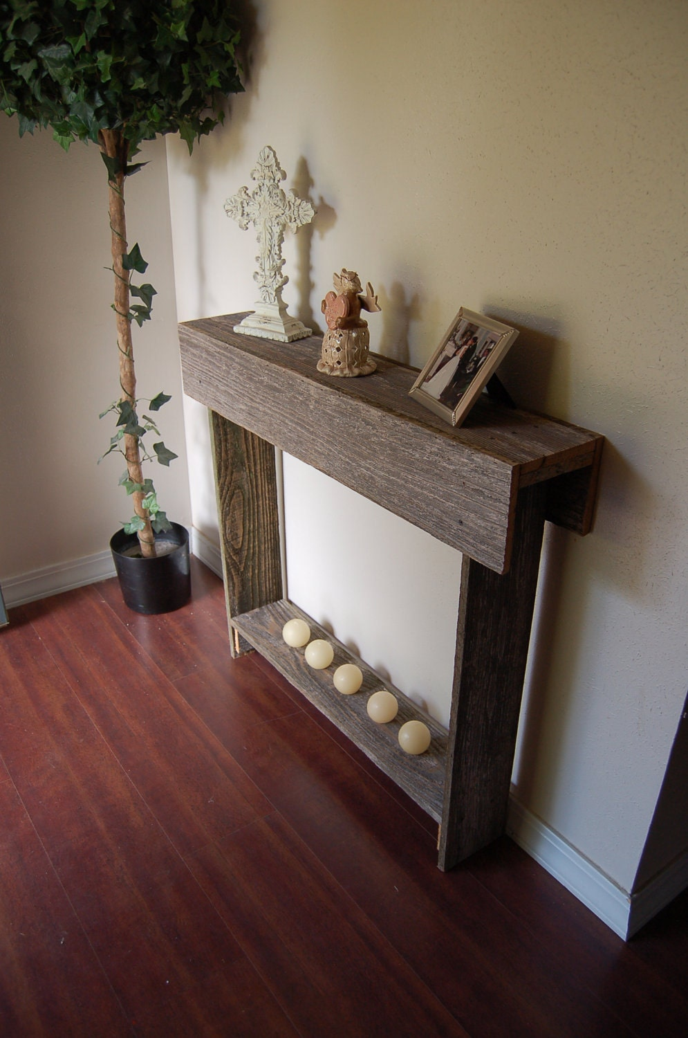 Items similar to wood console table skinny entry table for Entry wall table