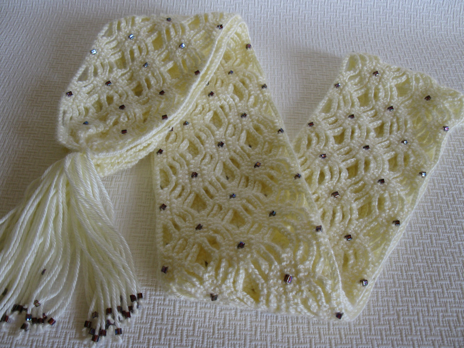 Crochet Scarf Pattern With Beads : White Beaded Scarf. White crochet trellis scarf with by ...