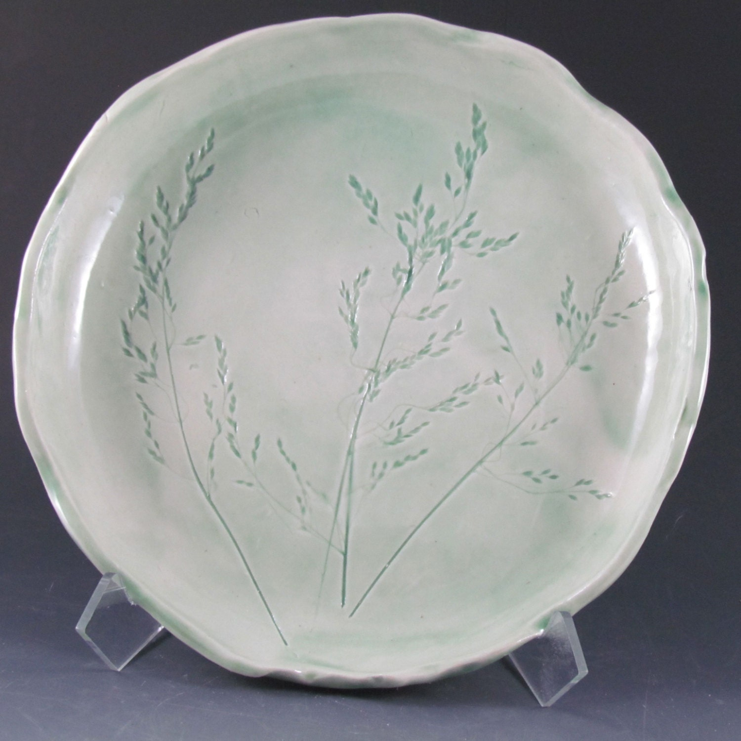 1 x 8 inch porcelain plate with inlaid grasses
