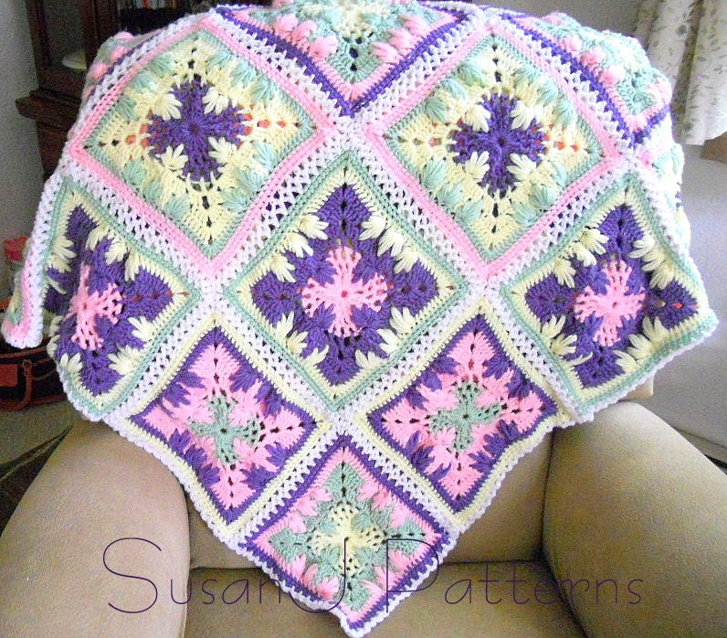 Crochet Patterns Afghan Squares : Instant download Crochet Pattern Trailing by BassWoodStitchery