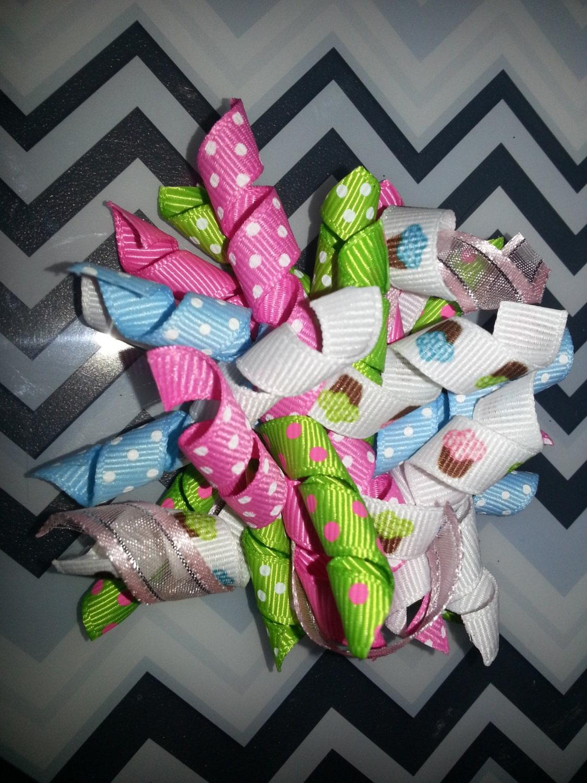 Cupcake Korker Bows - Toddler or Little Girl -pink white blue green - JMehargDesigns