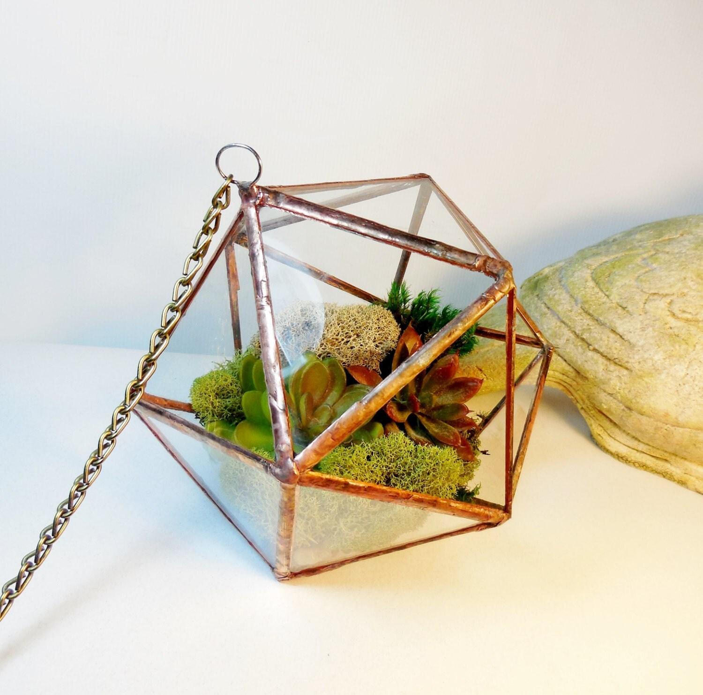 Hanging Glass Terrarium, clear glass planter geometric 3D shape ...