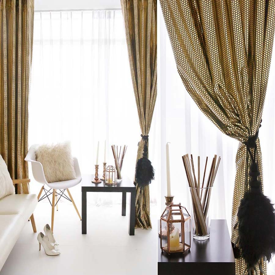 Brown and gold curtains
