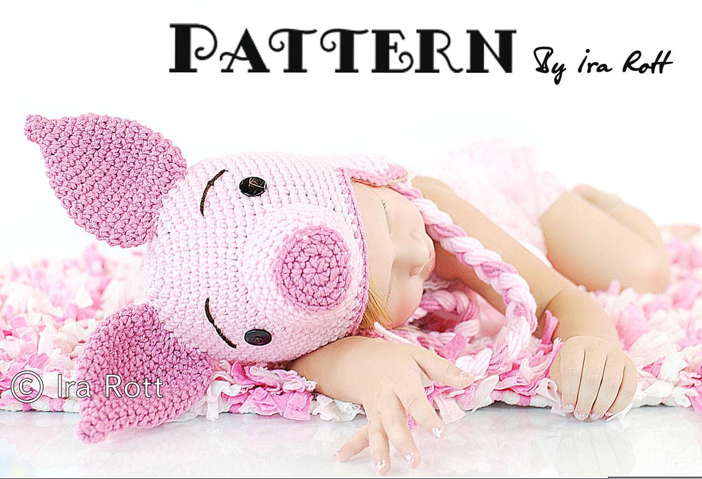PATTERN Pinky Piggy Hat Crochet PDF Pattern by IRAROTTpatterns