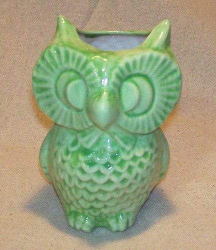 Ceramic Owl Planter Vase Vintage Design Spring By Fruitflypie
