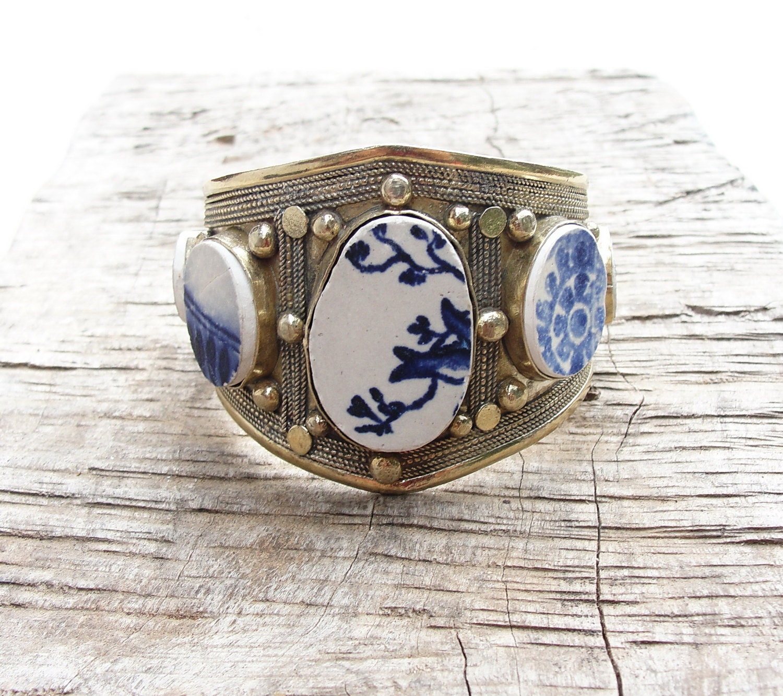 Myths and Legends Cuff Vintage Bracelet Beach Tiles Delft Blue Pottery - StaroftheEast
