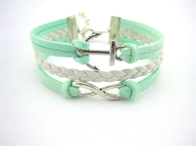 Bracelet, anchor bracelet, infinity bracelets, mint green bracelet, gift bracelet, wax line bracelets, silver, boyfriend, girlfriend.B6