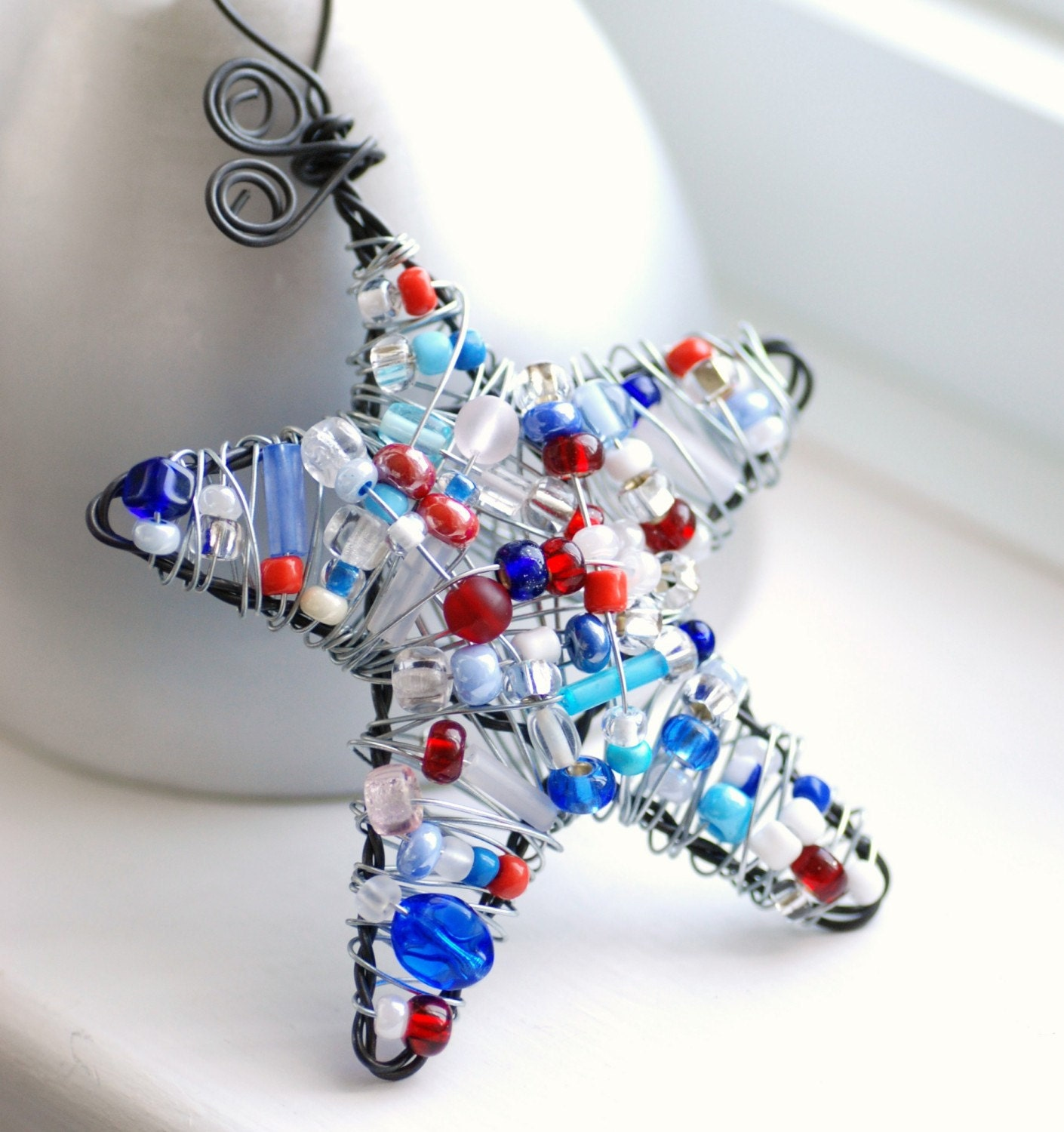 Stars and Stripes ... Red, White and Blue Patriotic Beaded Star Ornament, Decoration or Suncatcher