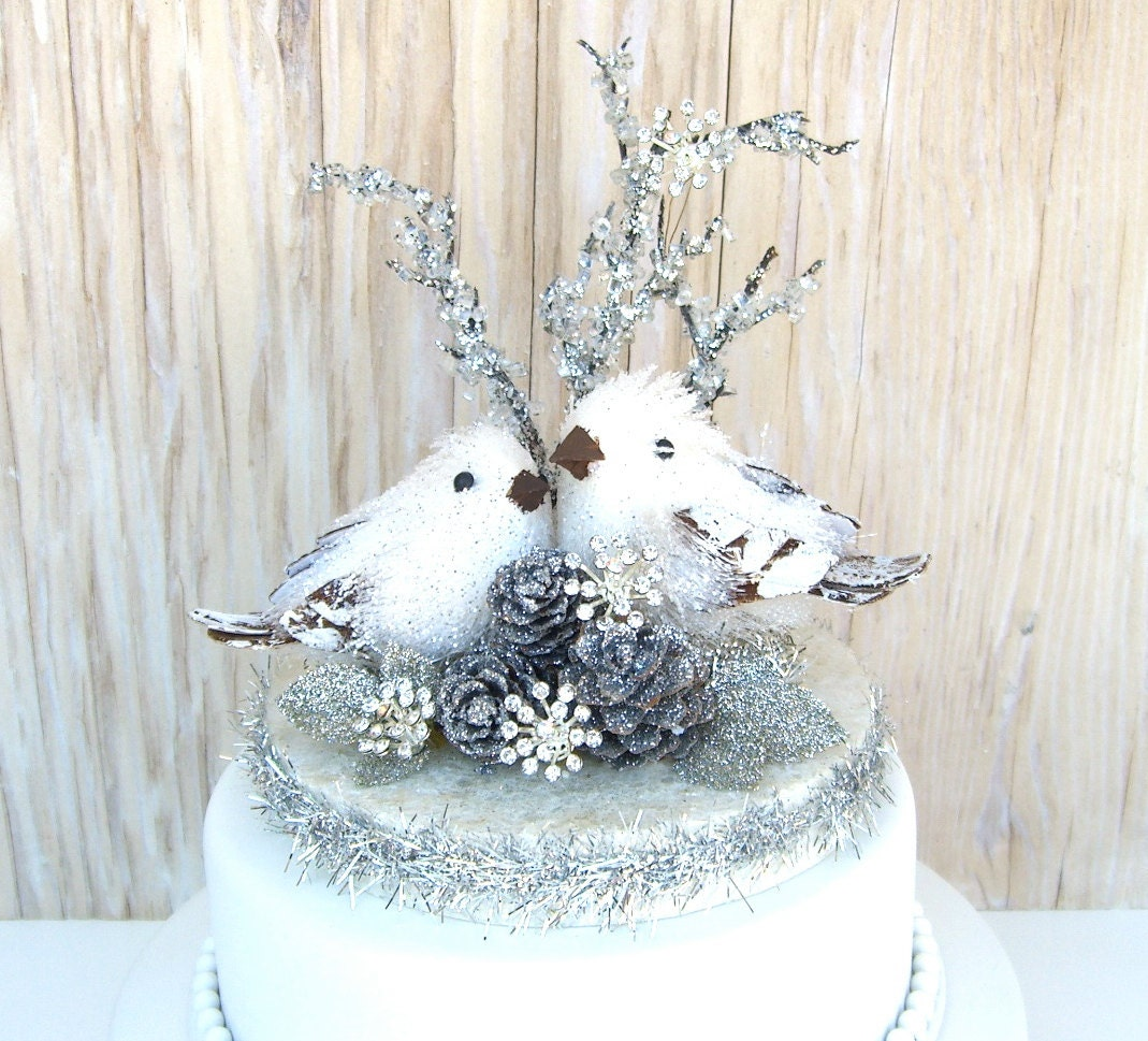 Winter Wedding Cake Topper Christmas Wedding By Sparkleandtwig