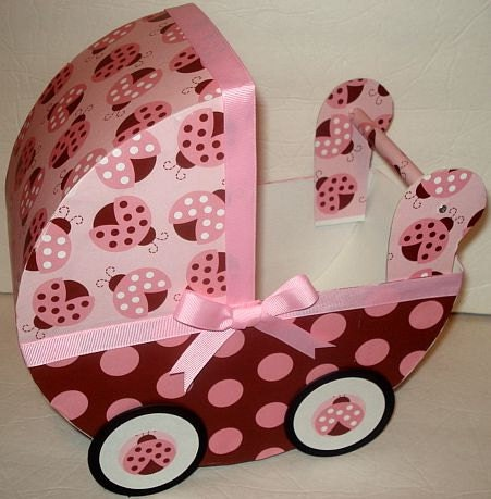 1 Pink and Brown Ladybug Baby Carriage Table Centerpiece / Gift Box
