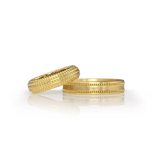 wedding band set his and hers 14k gold matching by jonjonjewel