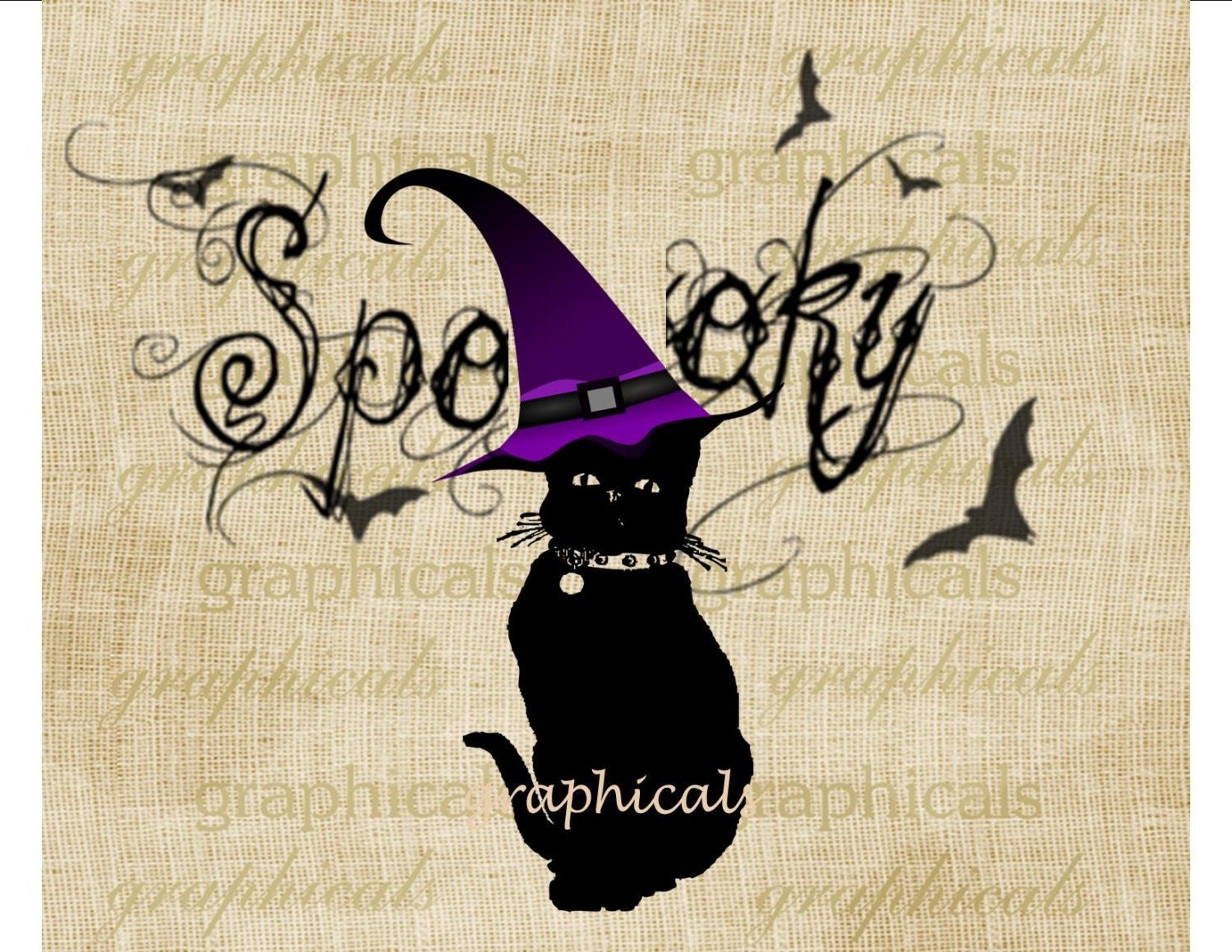 Halloween black cat Digital instant download image Spooky for iron on fabric transfer burlap decoupage tags pillows totebags Item No 2051 - graphicals