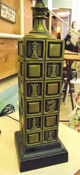 Laurel Brass Chess Lamp Mid Century Seen On Dick By