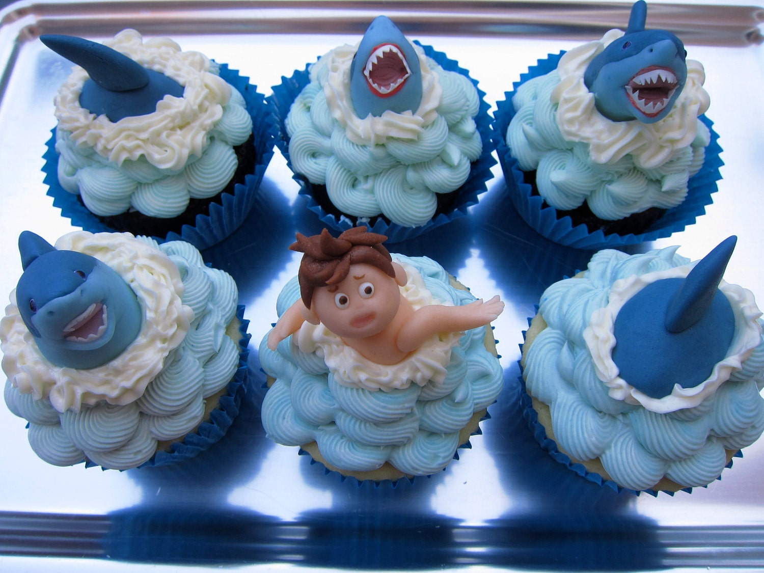 Swimming With The Sharks Cupcake Toppers 12 Items By Mimicafeunion