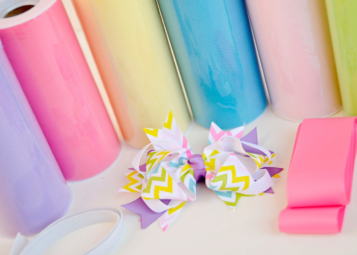 DIY TUTU KIT - Mulitcolored Pastel Easter Tutu w/matching hair bow set - baileysblossoms