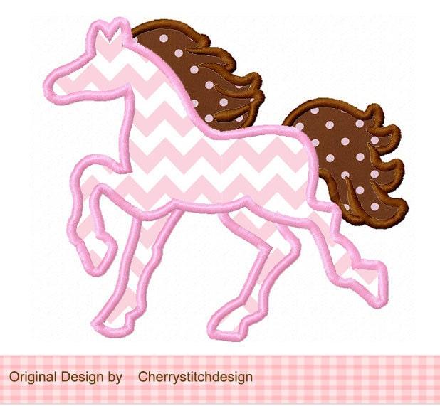 Horse silhouette digital applique by